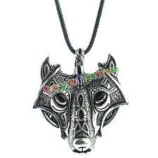 Männer kühlen Edelstahl Wolf Tier Kopf Anhänger Halskette Kette Geschenk
