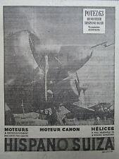 1938-39 PUB HISPANO-SUIZA MOTEUR 14AB CANON POTEZ 63 CHASSE BOMBER ORIGINAL AD