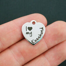 Keeshond Stainless Steel Charm - I Love My Keeshond - Quantity Options - Bfs651