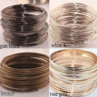 100pcs Women Loops Memory Steel Wire Cuff Bangle Bracelet Silver Gold Gift