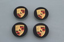 Porsche Wheel centre caps GLOSS BLACK X 4,  911 Boxster Cayman Cayenne Panamera