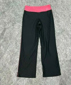 Nike Womens Pants Yoga Activewear Size Small 4 - 6  Fit Dry Black Pink Wide Legs