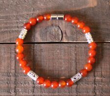 Orange Carnelian Healing Zen Chakra Gemstone Bracelet With A Magnetic Clasp