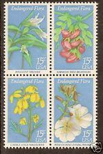 UNITED STATES USA 1979 ENDANGERED FLOWERS Block 4 MNH