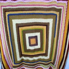 """Vintage Crochet Multicolored Handmade Blanket Afghan 51""""x53"""""""