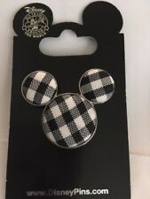 Mickey Mouse Icon - Black Plaid Fabric Pin 86260