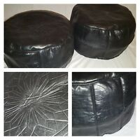 MOROCCAN 100% REAL LEATHER SET OF 2 BLACK POUFFES HANDMADE FOOTSTOOL BEANBAG