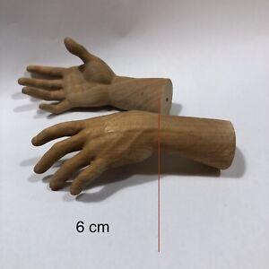 Mani uomo Statua santo Legno Scolpite Per Figura 6 cm palmo dita restauro