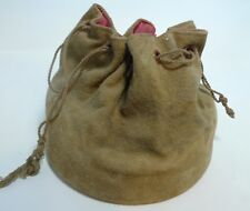 "Medieval Leather Pouch Bag Large Drawstring Man Purse 6""tall x 7"" diameter"