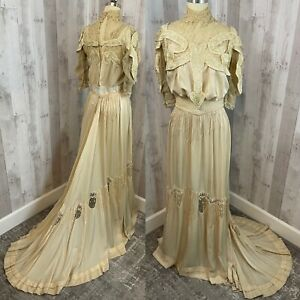 c1910s Edwardian 2PC Antique Wedding Gown Vintage Silk Embroidered Dress S/XS