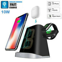 3in1 Qi Wireless Fast Charger Dock Stand For Apple Watch Airpods iPhone x xs xr