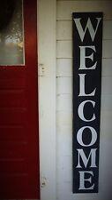 Huge Large Rustic Primitive Front Door Porch Vertical Wooden Welcome Sign Gift