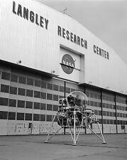 LUNAR LANDING RESEARCH VEHICLE OUTSIDE LANGLEY HANGAR - 8X10 NASA PHOTO (EP-294)