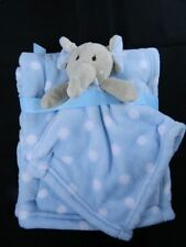 Elephant Blue & White Polka Lovey Security & Matching Blanket New RN119741 New