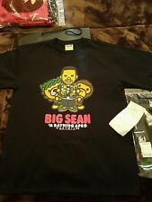 A BATHING APE BAPE X BIG SEAN SHORT SLEEVE TEE BLACK - SIZE XL - BABY MILO ASSC
