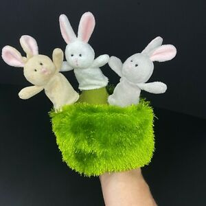 Ganz Bunnies in the Meadow Finger Hand Puppet Plush Stuffed Toy 3 Bunny Rabbits