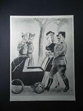 """WW2 Officer Pushing Pram & Mocking soldiers original antique print c. 1940 9x11"""""""