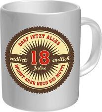 Fun Kaffeebecher Kaffee Tasse - endlich 18 Jahre alt - Keramik Becher Pott Tasse