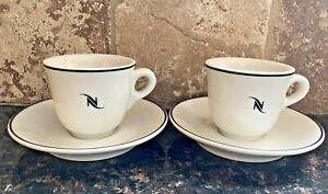 Nespresso Logo Espresso Cups and Saucers Porcelain Made in Germany 2 sets 3 oz.