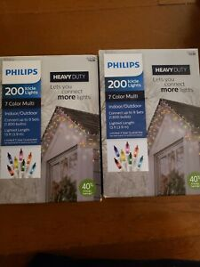 2 sets Philips Incandescent Heavy Duty 200 Icicle String Lights Multicolored