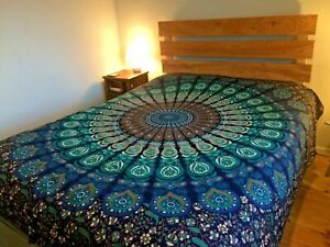 Peacock Mandala print cotton double bedspread wall hanging hippy Indian ethnic