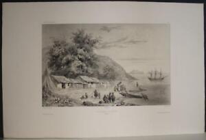 DA NANG VIETNAM 1840 VAILLANT UNUSUAL ANTIQUE ORIGINAL LITHOGRAPHIC VIEW