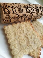 Mini Rolling Pin Laser Engraved Rolling Embossed Dough Roller Christmas pattern