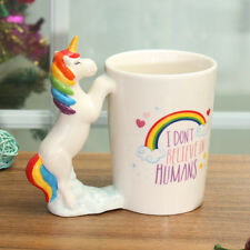 400ml Christmas Gift Unicorn Rainbow Ceramic Mug Coffee Water Cup Animal Handle