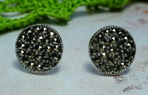 My S Collection 925 Sterling Silver & Marcasite Round Stud Earrings