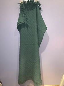 Rare Vintage Great Condition Pendleton Flannel Wool Frill Blanket 70x54 Green