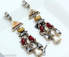 1 Pair Elegant Multi Crystal Rhinestone  Ear Drop Dangle Stud long Earrings 225
