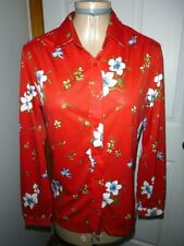 Vintage 70s Womens Floral Disco Shirt Top Blouse Size S/M (34) Polyester