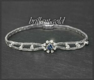 Diamant Brillant & Saphir 585 Gold Armband mit 1,05ct, Vintage um 1950, Weißgold