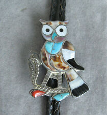 Vintage Sterling Silver Southwestern Owl Inlay Bolo Tie