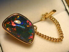 14ct Yellow Gold Mens Tie Tack Free Form Triplet Opal item 070121