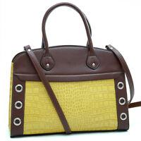 Dasein Women Grommet Faux Croco Leather Satchel Tote Bag Shoulder Bag Purse