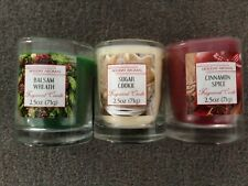 Candle Set of 3 Cinnamon Spice,Balsam Wreath, Sugar Cookie 2.5 oz Holiday Aromas