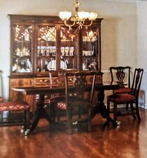 Ethan Allen 18th C Mahogany Dining Set 8 Chairs, Table, Sideboard, China Cabinet