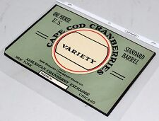 Vintage Unused Cape Cod Cranberries Variety Case Shipping Crate Label, EXC!