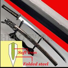 High Quality Clay Tempered Japanese Samurai Katana Sword Fine Folded Steel Blade