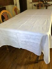 "Antique White Linen Damask Table Cloth 68""x 102"""
