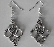 Earrings #163 Pewter SNAKES (34mm x 24mm) Silver Tone