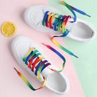 Hottest 5Pair 110cm Rainbow Multi-Colors Flat Sports Shoe Lace Sneaker Shoelaces