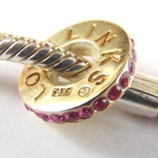 Lovelinks Sterling Silver spacer charm -  with Pink Stones Aagaard - gold Ptd