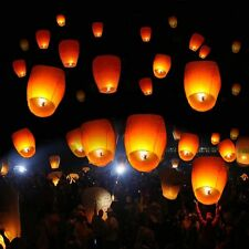 New 50 White Paper Chinese Lanterns Sky Fire Fly Candle Lamp Wish Wedding Party