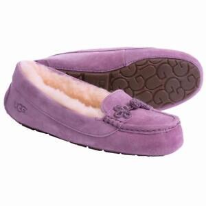 New NIB Ugg Suki Moccasin Slippers Suede Shearling Geode Lavender Purple RARE!