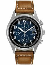 Citizen CA0621-05L Mens Eco-Drive Brown Leather Strap Blue Dial Chrono Watch