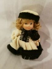 """All PORCELAIN DOLL Tiny GIRL Miniaturize 3"""" Darling winter outfit w hand Muff"""