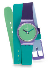 Swatch Fun In Blue Watch LV117 Analogue Silicone Green,Purple,Turquoise