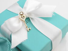 New Tiffany & Co 18K Yellow Gold Heart Key Pendant Charm 4 Necklace Packaging